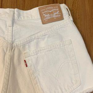 Levi's Shorts - LEVI'S 501 White Raw Hem High Waisted Jean Shorts